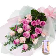 [화]핑크꽃다발+사탕